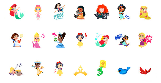 disney princess emoji keyboard ios android